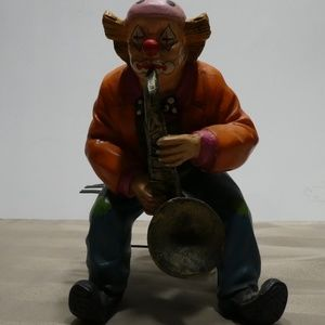 Other - CLOWN porcelain sitting on bench playing saxophone
